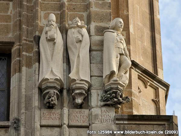 Links: Bisschop Gelenius, midden: Joost van den Vondel